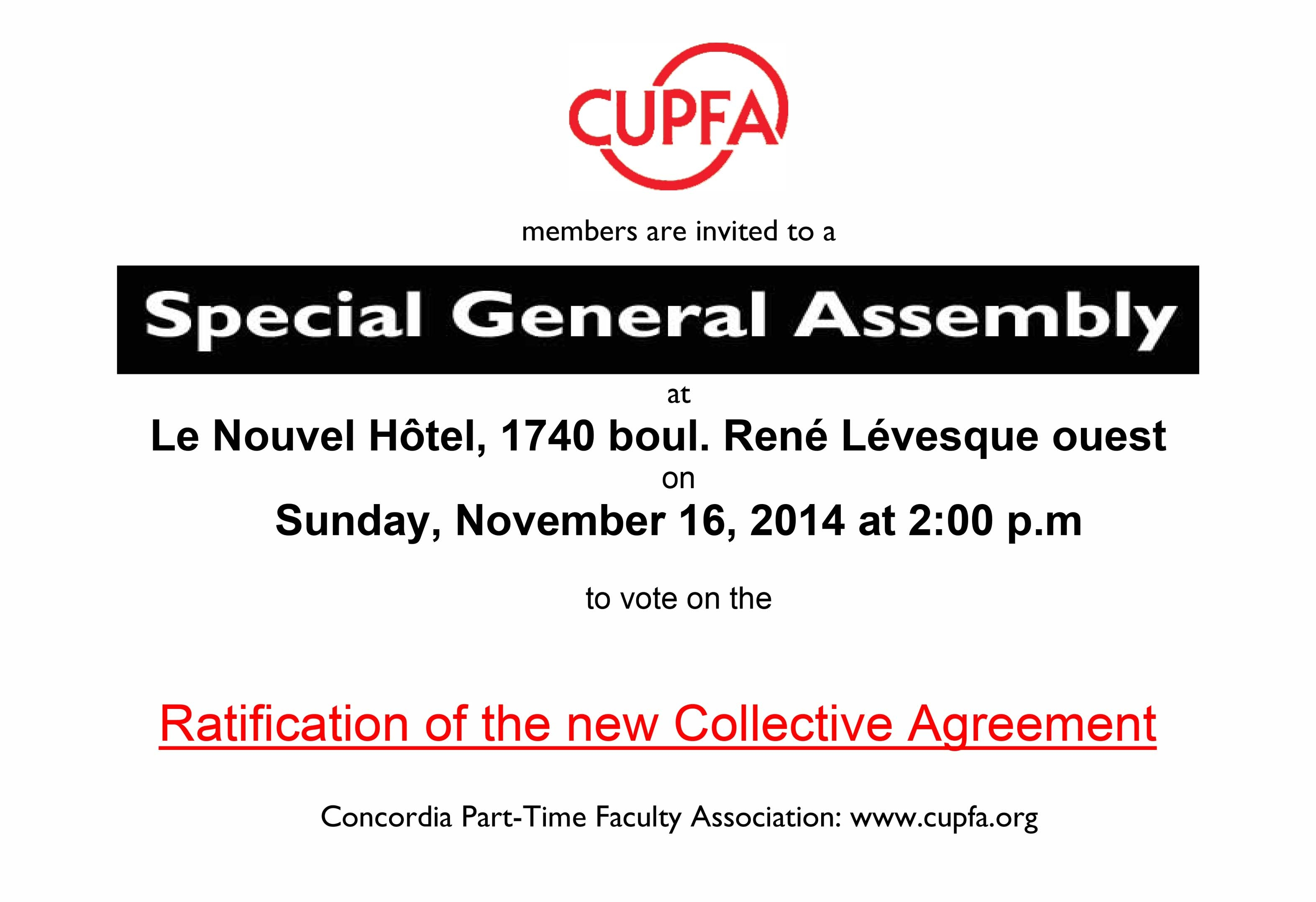 Special General Meeting For New Collective Agreement Ratification